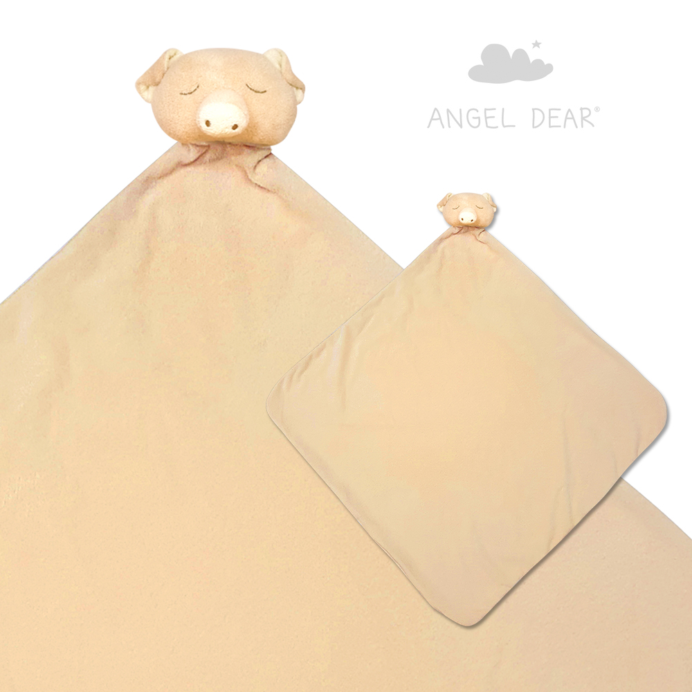 美國 Angel Dear 大頭動物嬰兒毛毯 (米色小豬)