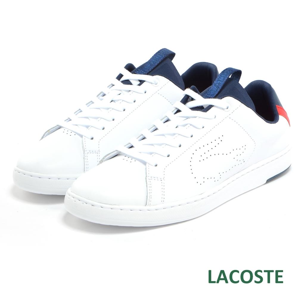 LACOSTE 男用真皮運動休閒鞋-白色