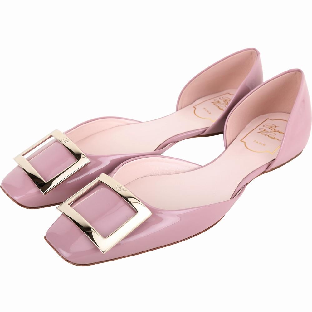 Roger Vivier Trompette Dorsay 方釦漆皮芭蕾舞平底鞋(粉紫色)