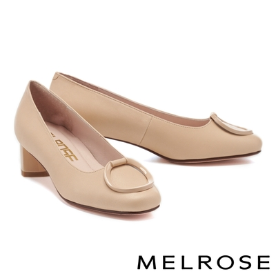 高跟鞋 MELROSE 簡約質感圓釦全真皮粗高跟鞋-米