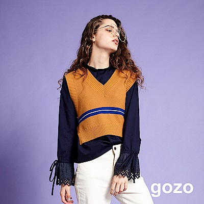 gozo 蕾絲縷空喇叭袖圓領上衣(深藍)