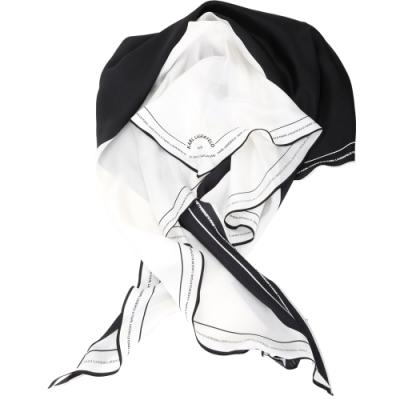KARL LAGERFELD Rue St Guillaume 住址系列印花絲質披肩/圍巾(黑白色)