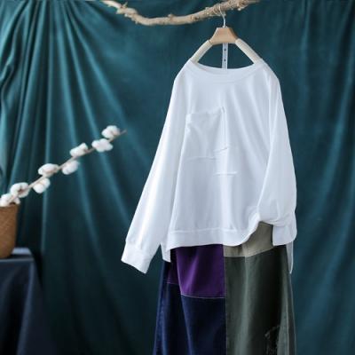 純棉貼布拼接圓領長袖T恤寬鬆潮流單色內搭上衣-設計所在