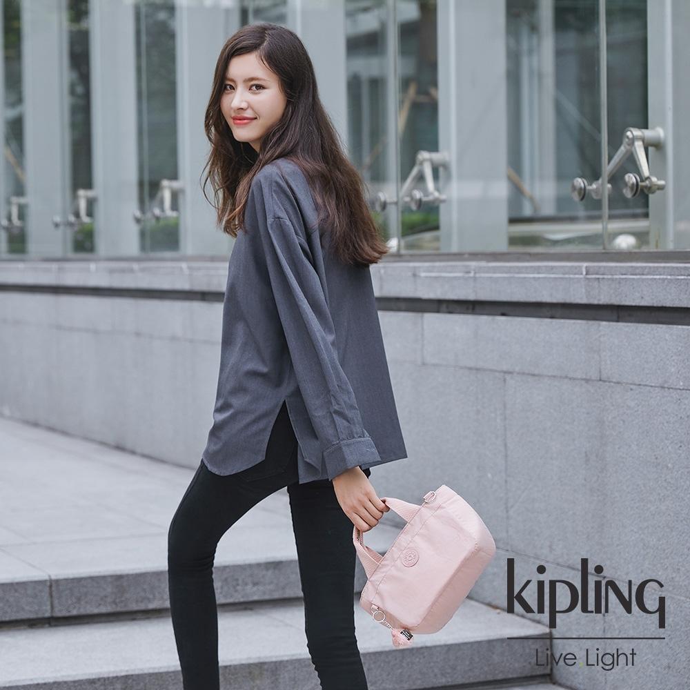 Kipling 氣質玫瑰粉手提兩用斜背包-SUGAR S II