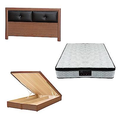 綠活居 盧戈6尺雙人加大床台三式組合(床頭片+後掀床底+正三線涼感獨立筒)五色可選