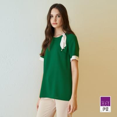 ILEY伊蕾 典雅撞色珍珠雪紡上衣(綠)