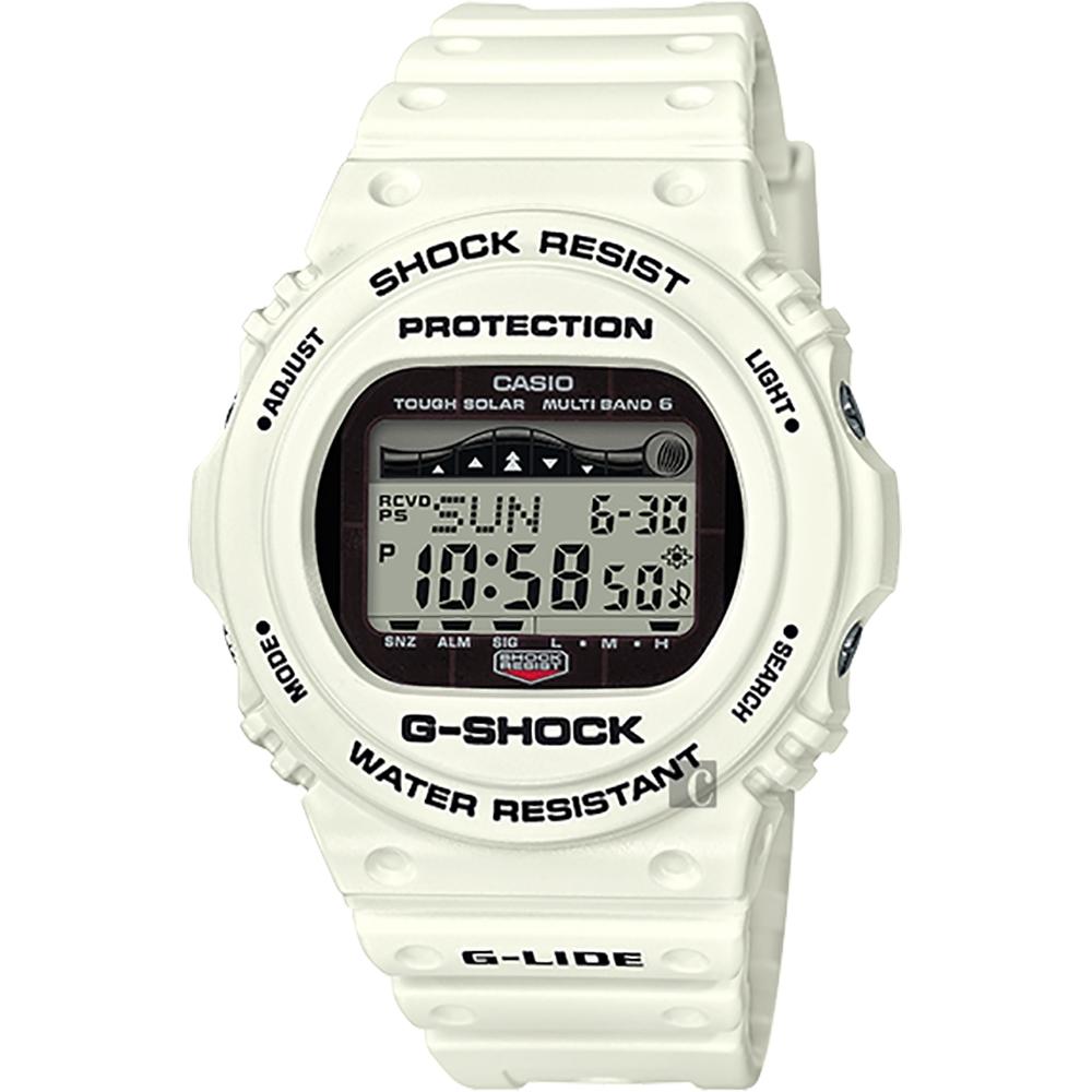 CASIO 卡西歐 G-SHOCK 太陽能電波衝浪手錶-沙灘白(GWX-5700CS-7)