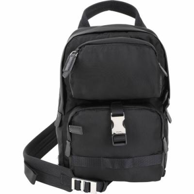 PRADA 口袋設計尼龍手提斜背單肩包(黑色)