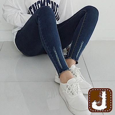 正韓 顯瘦貼腿勾破褲管高腰-(藍色)100%Korea Jeans