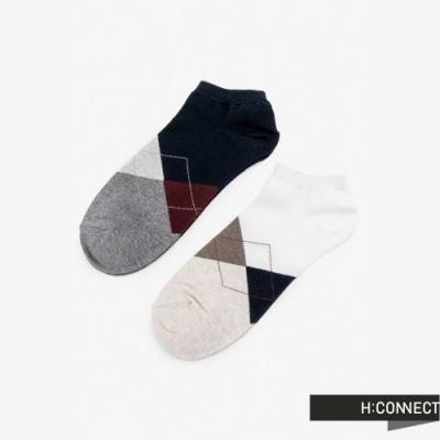 H:CONNECT 韓國品牌 男襪 - 菱格紋短襪組-卡其