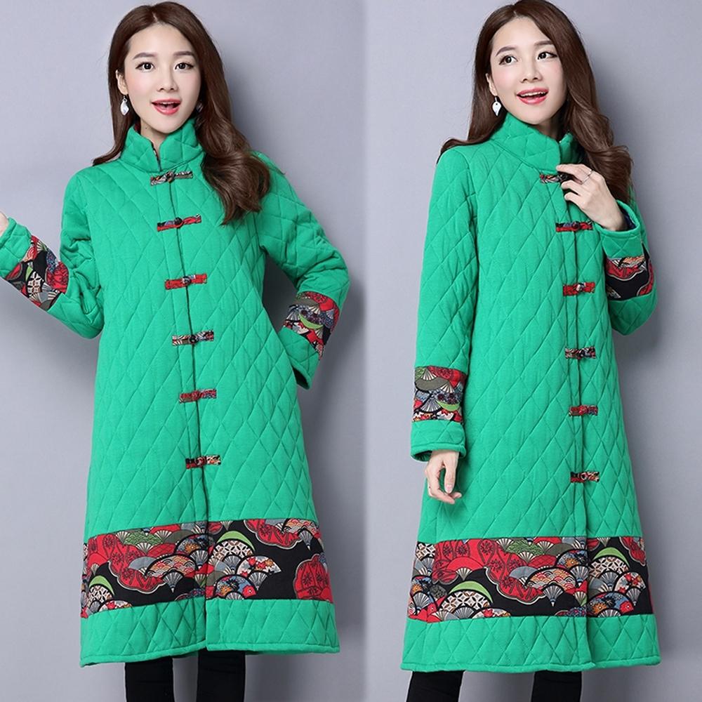 【韓國K.W.】(預購)中國風格紋立領鋪棉外套-3色