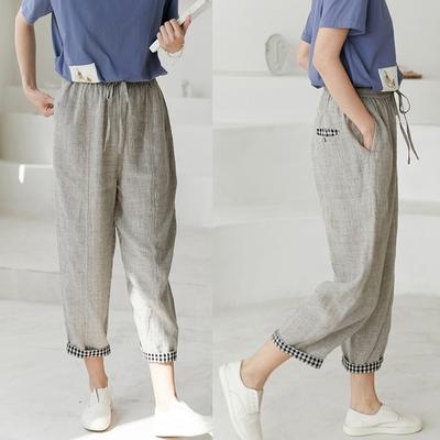 進口色織亞麻格子寬鬆直筒棉麻休閒褲-設計所在
