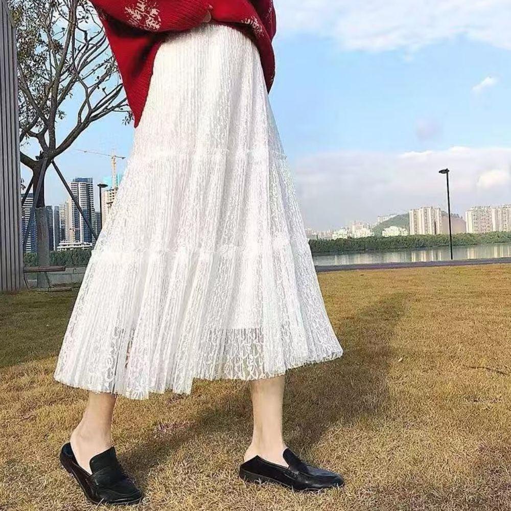 La Belleza鬆緊腰小花朵刻花蛋糕裙蕾絲拼接雪紡百摺網紗長裙 product image 1