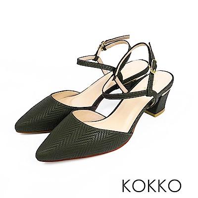 KOKKO - 莫內花園後空真皮繫踝粗跟鞋-深墨綠