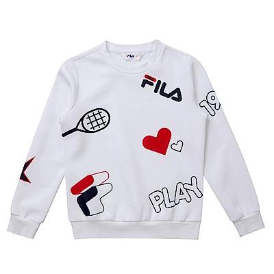 FILA KIDS 童長袖針織上衣-白 5TES-8412-WT