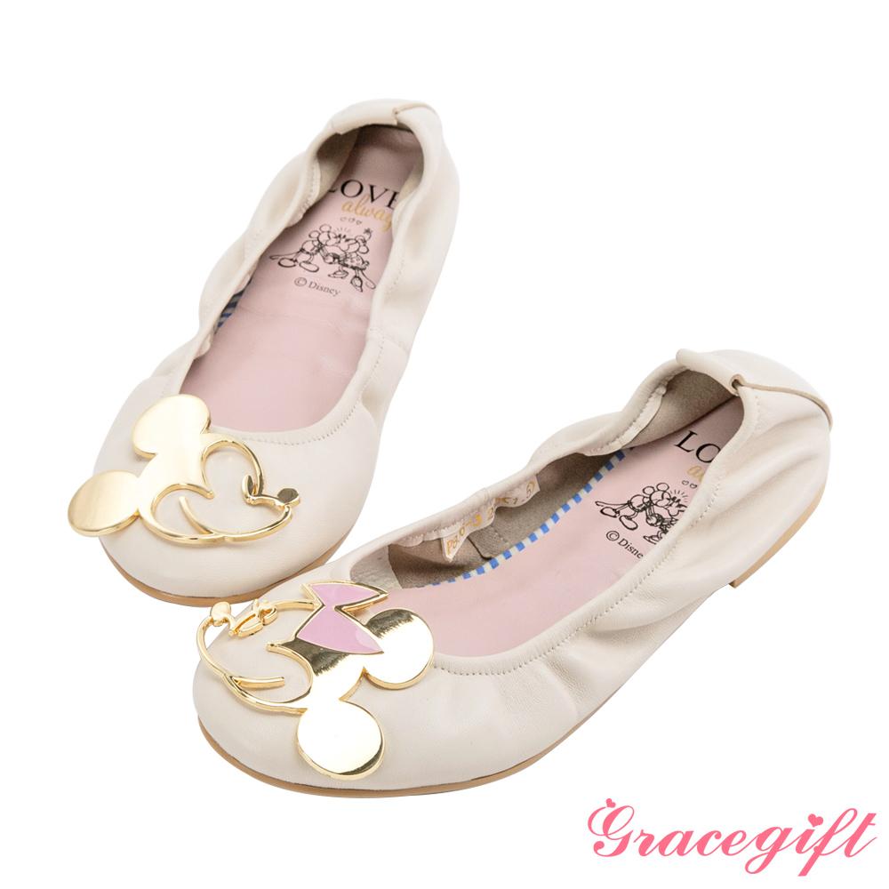 Disney collection by grace gift-飾釦摺疊娃娃鞋 米白