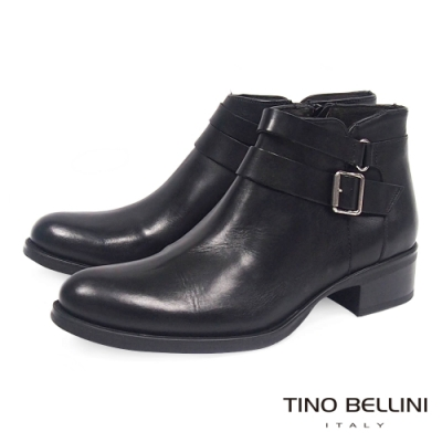 Tino Bellini雙皮帶全真皮低跟短踝靴_黑