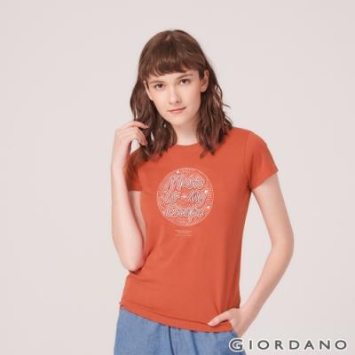 GIORDANO 女裝MUSIC系列印花短袖T恤- 02 夕陽紅