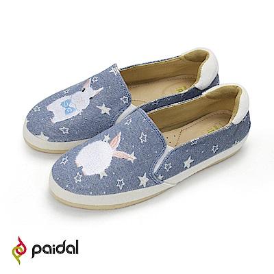 Paidal童話雪兔繁星單寧款懶人鞋樂福鞋休閒鞋