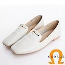 GEORGE 喬治皮鞋 真皮素面小金飾釦柔軟樂福鞋 -白