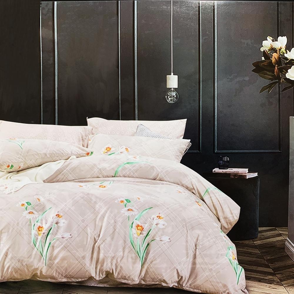 Goelia 花繪線萃 親膚舒柔活性印染超細纖雙人床包枕套三件組
