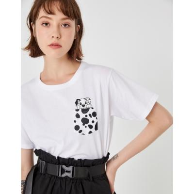 CACO-MIT 101忠狗口袋短T-情侶款-女【TDI139】