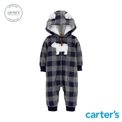 Carter s台灣總代理 格紋北極熊連身裝(連帽)