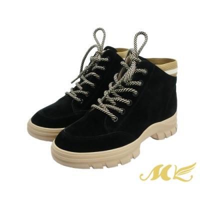 MK-復古風俐落有型自信品味中筒休閒鞋-黑色  (兩色)