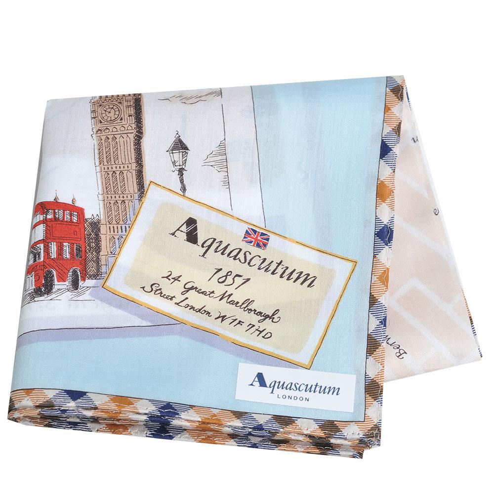 Aquascutum 品牌格紋滾邊倫敦笨鐘圖騰地圖LOGO帕領巾(水藍系)