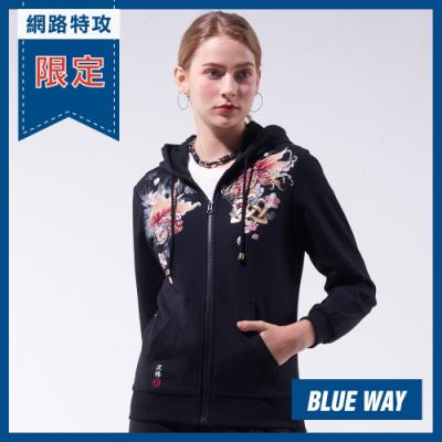 網路限定_日本藍 BLUE WAY-金標情人鎖連帽外套(黑)