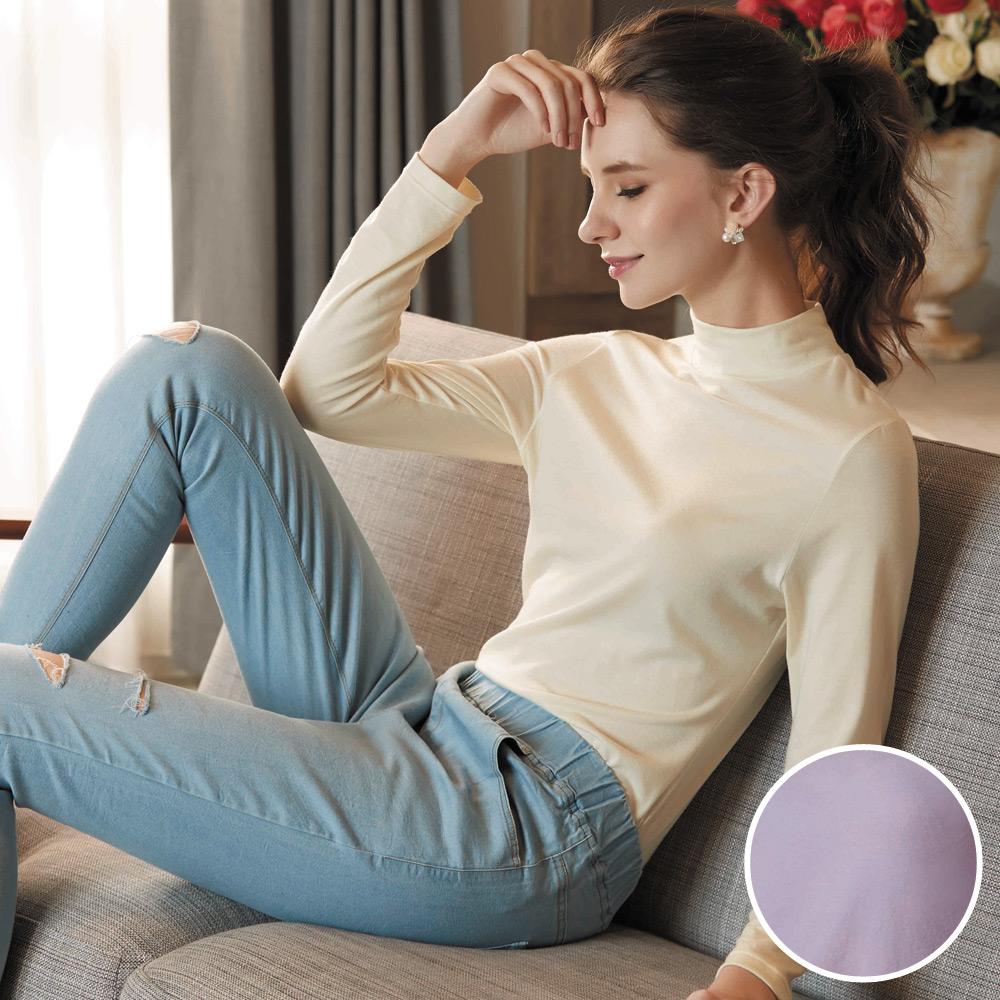 華歌爾-極衣恆溫M-LL 厚刷立領保暖衣(極光紫)保暖柔暖-吸水速乾
