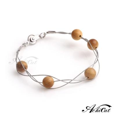 AchiCat天然檀香珠層次手作鋼手鍊樸實自在