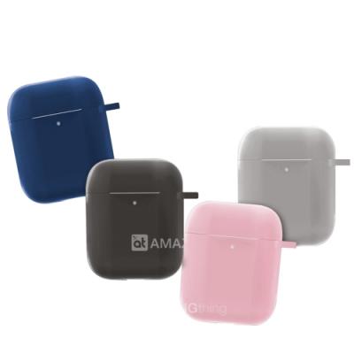 AT【FLOW】高彈性防摔矽膠 Airpods 藍牙耳機保護套 1/2代適用 附掛勾+防丟繩