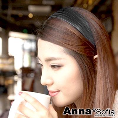 【滿520打7折】AnnaSofia 皺摺仿皮 韓式寬髮箍髮飾(亮面黑)