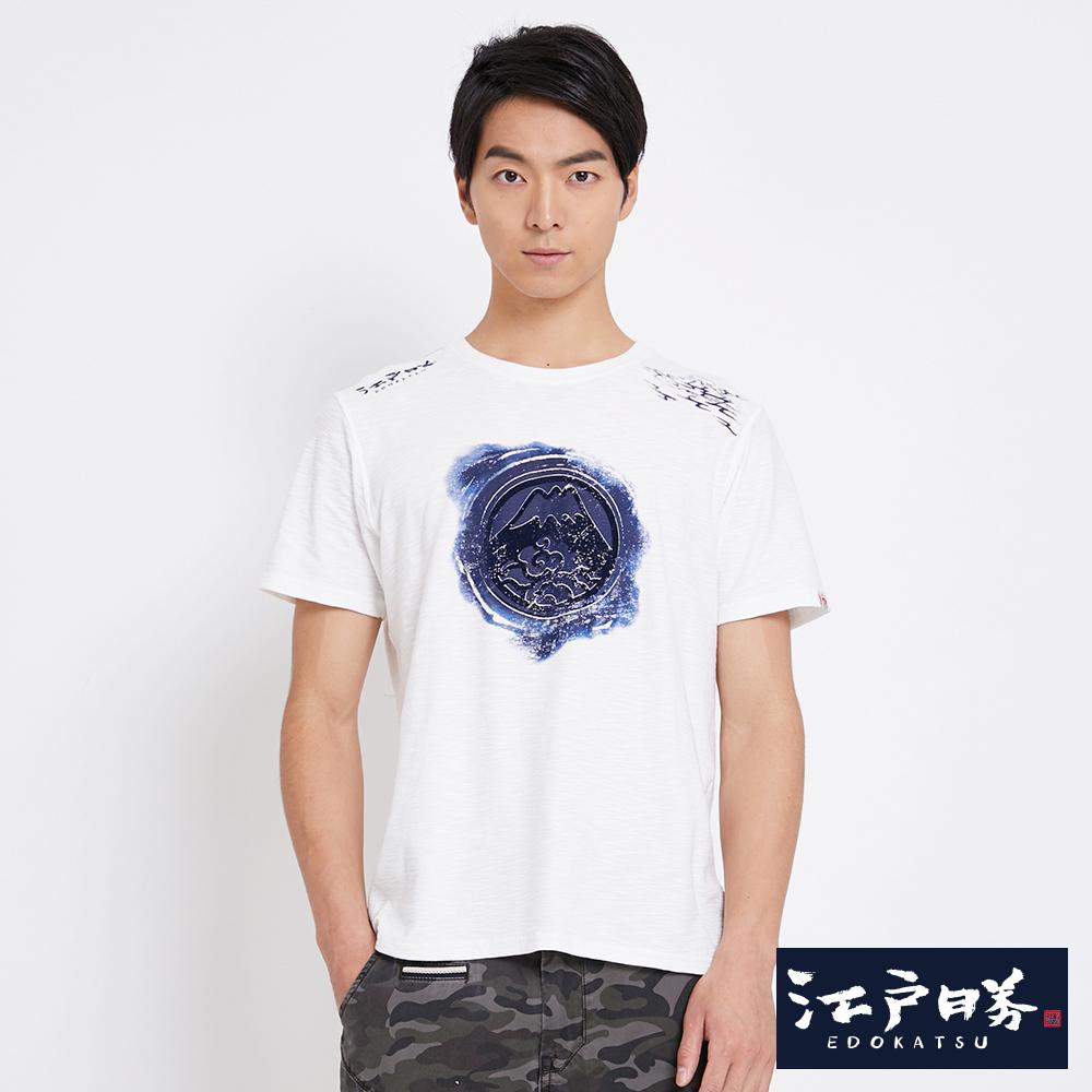 EDO KATSU江戶勝 拔色富士山短袖T恤-男-米白色
