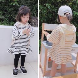 小衣衫童裝 秋冬女童可愛兔耳帽子長袖條紋連身裙1080909