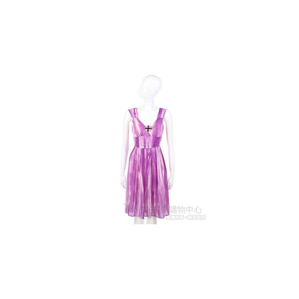 MARELLA 紫色渲染設計V領洋裝(附別針)