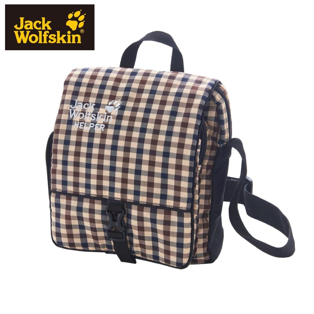 【Jack Wolfskin 飛狼】HELPER 休閒側背包 秘書包『卡其格紋』