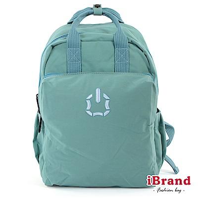 iBrand後背包 簡約素色輕旅行加寬好收納手提後背包-水藍色