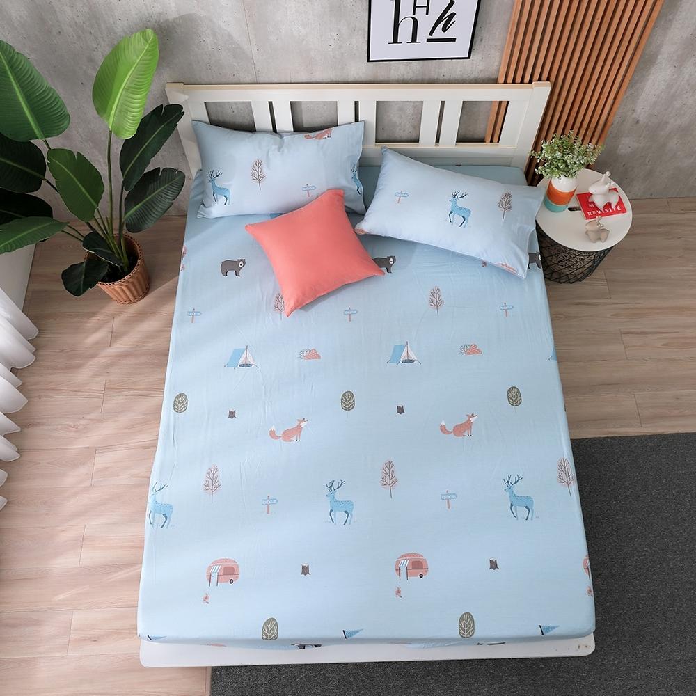 鴻宇 100%精梳棉 森林冒險 單人床包枕套二件組
