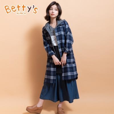 betty's貝蒂思 兩件式連帽背心+長版格紋外套(深藍)