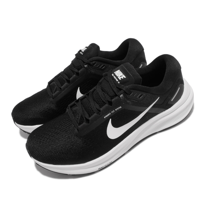 Nike 慢跑鞋 Zoom Structure 24 女鞋 輕量 透氣 舒適 避震 路跑 健身 黑 白 DA8570-001