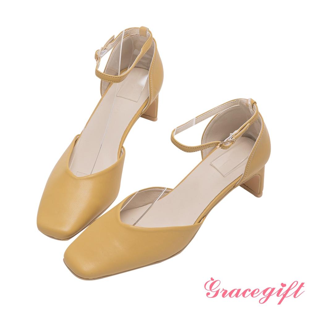 Grace gift-方頭繫踝扁跟鞋 駝