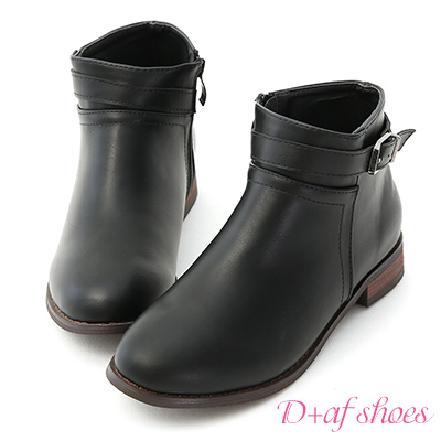 D+AF 率性百搭.立體車線釦環平底短靴*黑