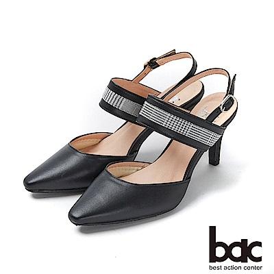 bac紐約不夜城 - 兩截式後空格紋異材質拼接高跟鞋-黑