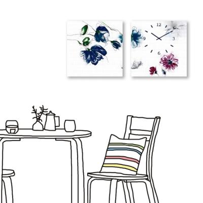 24mama掛畫-二聯式 花卉 手繪風 時鐘掛畫 無框畫 40X40cm-雅致