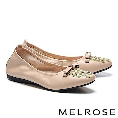 平底鞋 MELROSE 復古撞色編織蝴蝶結金屬釦全真皮平底鞋-綠