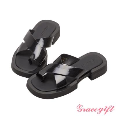 Grace gift-寬帶套趾厚底涼拖鞋 黑漆