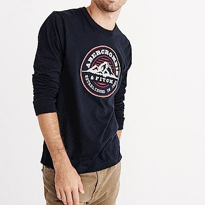 麋鹿 AF A&F 經典刺繡徽章長袖T恤-深藍色