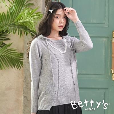 betty's貝蒂思 典雅連帽微簍空針織線衫(灰色)